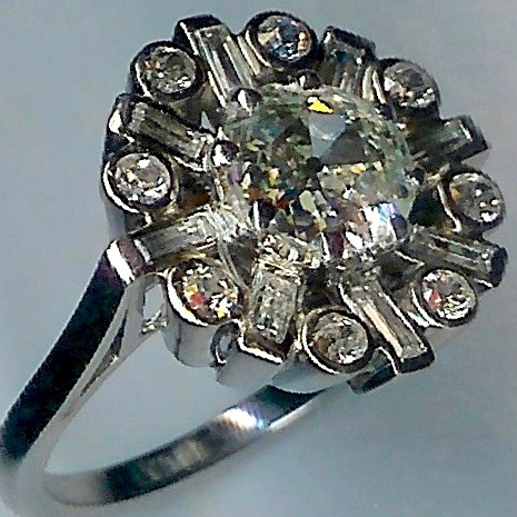 Sensational Deco Diamond Cluster Ring, Approx. 1.17cts Centre