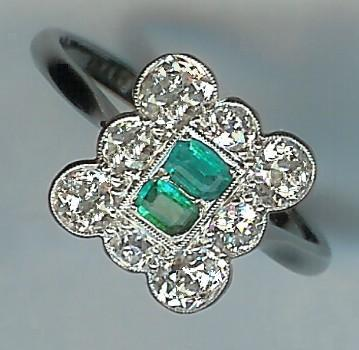 Fantastic 1920's Emerald and Rose-Cut Diamond Cluster Ring