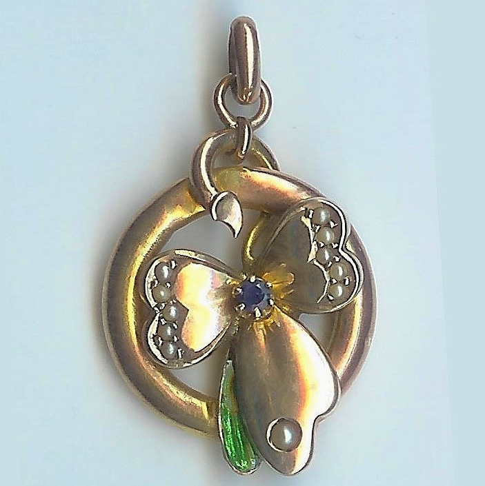 Extremely Sweet Pearl, Sapphire, and Enamel Butterfly Pendant