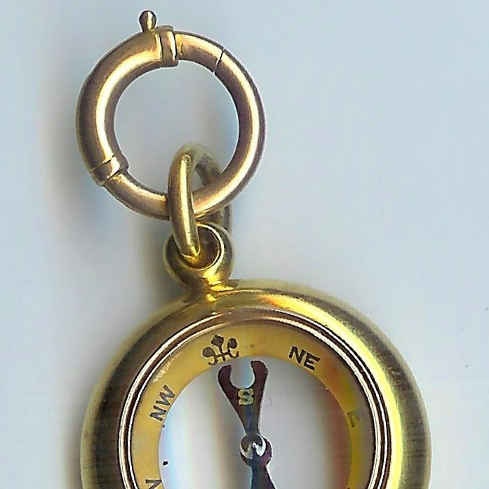 Rare Old 18ct Yellow Gold Compass Fob