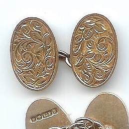 Handsome Old Double-Oval Engraved Cufflinks, 1904