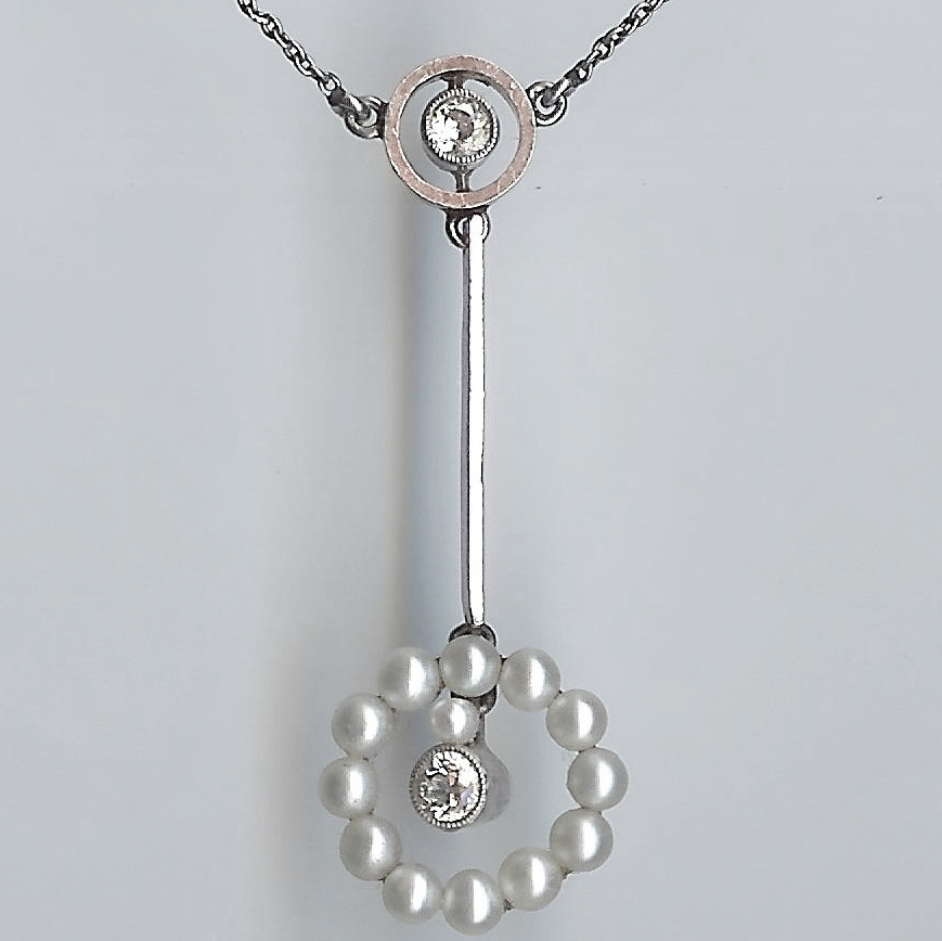 Special Old Diamond & Pearl Necklace