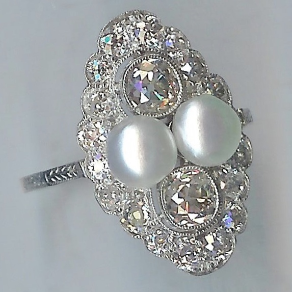 Spectacular Vintage Diamond and Pearl Cluster Ring