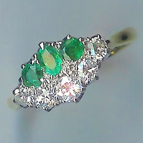 Absolutely Stunning 1920's 8-Stone Emerald and Diamond Ring