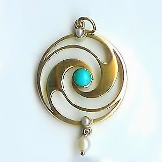 Merle Bennet Turquoise & Pearl Pendant