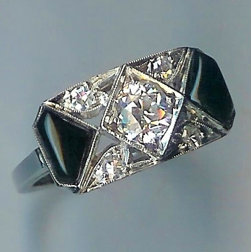 Dashing Onyx & Diamond Art Deco Ring