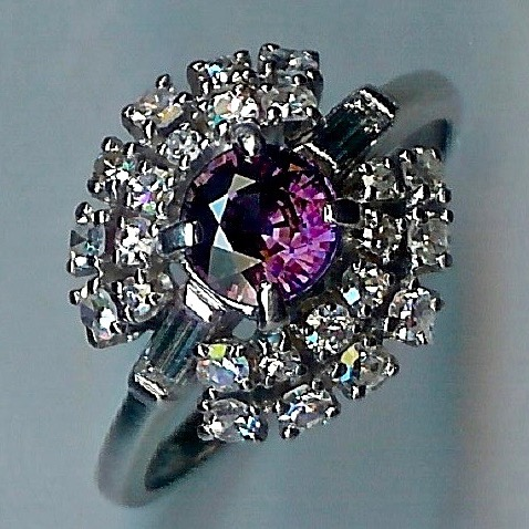 Sensational Colour-Changing Sapphire and Diamond Cluster Ring